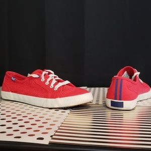 Keds Red Perforated Sneakers, 7.5